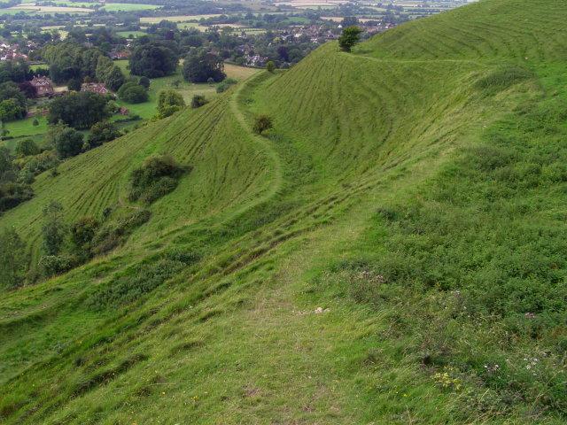 Slipped earthworks, Hambledon Hill - geograph.org.uk - 646117