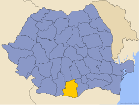 Administrative map of Руминия with Телеорман county highlighted