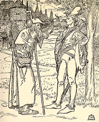 Иллюстрация Говарда Пайла «Старик-пилигрим сообщает юному Дэвиду из Донкастера новости об Уилле Статли».