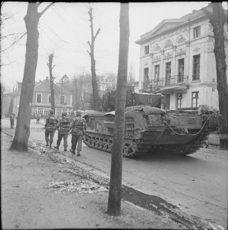 Churchill tanks of the 6th Guards Tank Brigade and infantry of the 2nd Gordon Highlanders in Kleve