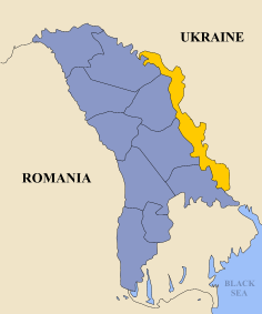 Transnistria (yellow) and Moldova (blue)