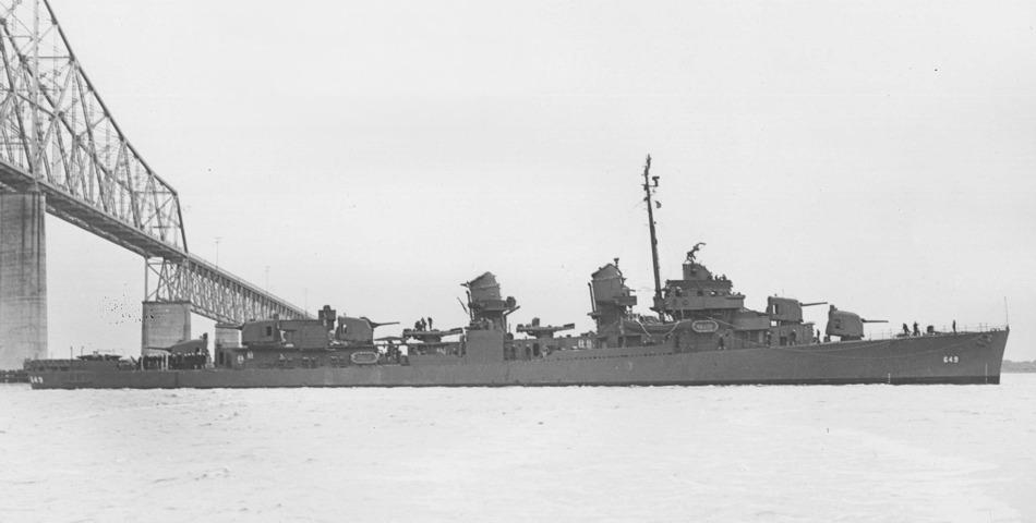 USS Albert W. Grant (DD-649) passes under the John P. Grace Memorial Bridge, South Carolina (USA), on 11 December 1943 (19-N-55226).jpg