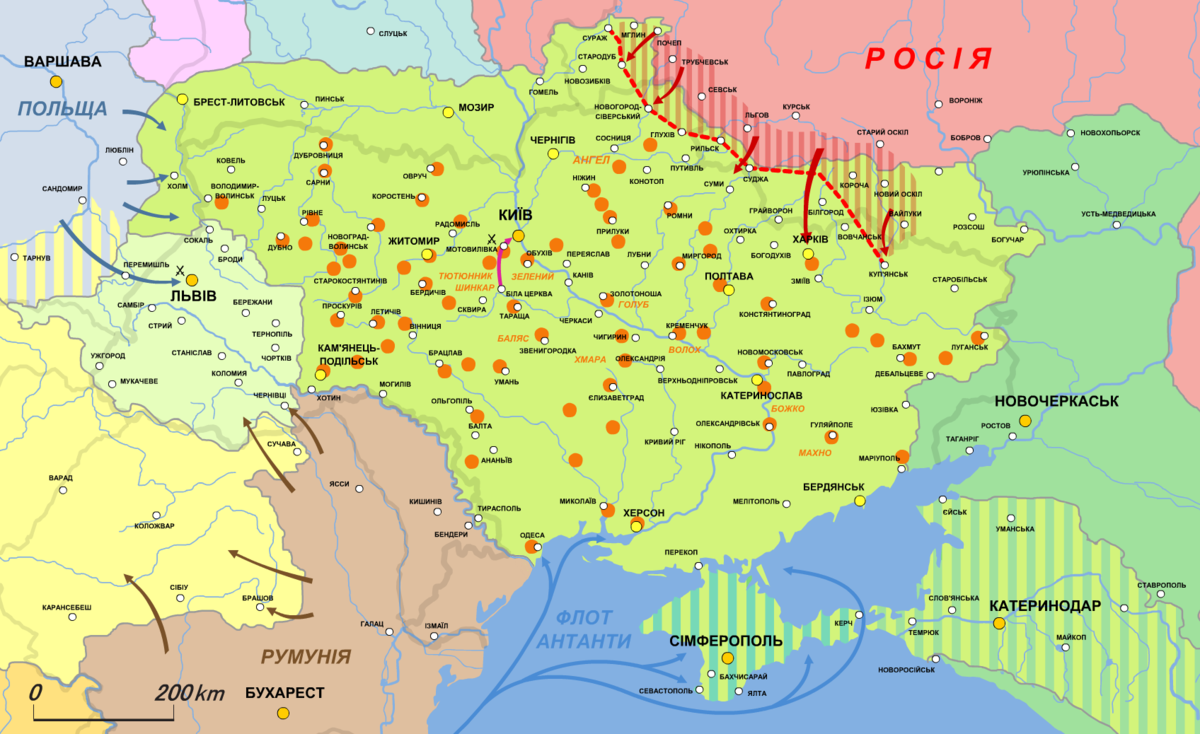 Ukraine in November and December 1918   uprisings   demarcation line with Russian SFSR  Dashed  Negotiations with Crimea and Kuban for joining the Ukrainian State Dashed  Neutral zone between Russia and Ukrainian proscribed by the Treaty of Brest-Litovsk