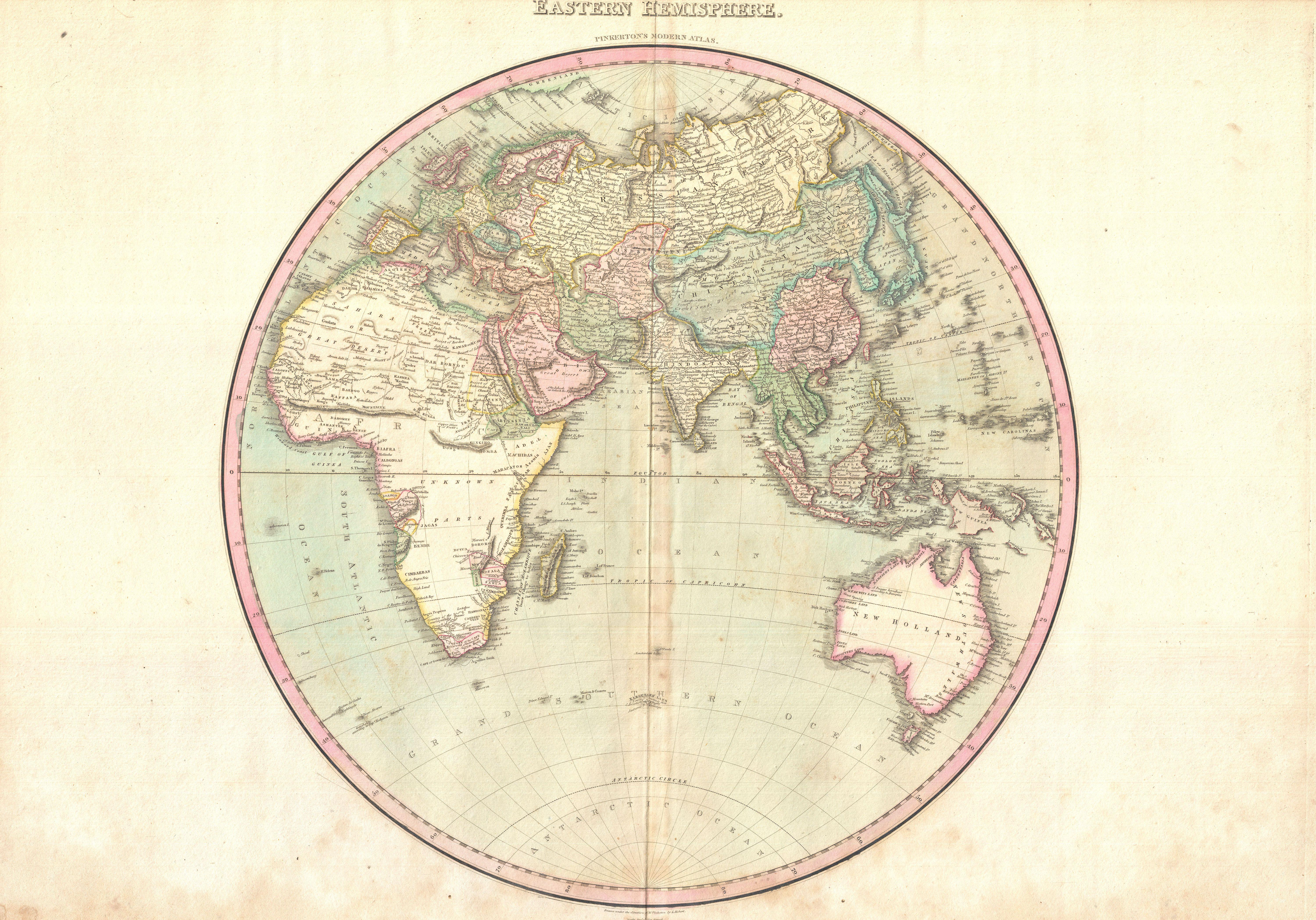 Map Of Africa Europe And Asia.File 1818 Pinkerton Map Of The Eastern Hemisphere Asia Africa