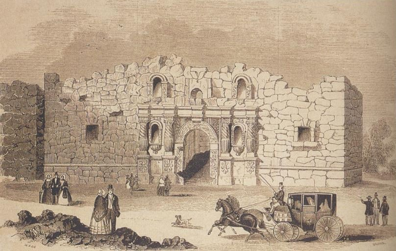 The crumbling facade of a stone building is missing its roof and part of its second floor. A pile of stone rubble sits in the courtyard. In front of the building are a horse-drawn carriage and several people in 1850s-style clothing: women in long dresses with full skirts and men in fancy suits with top hats.