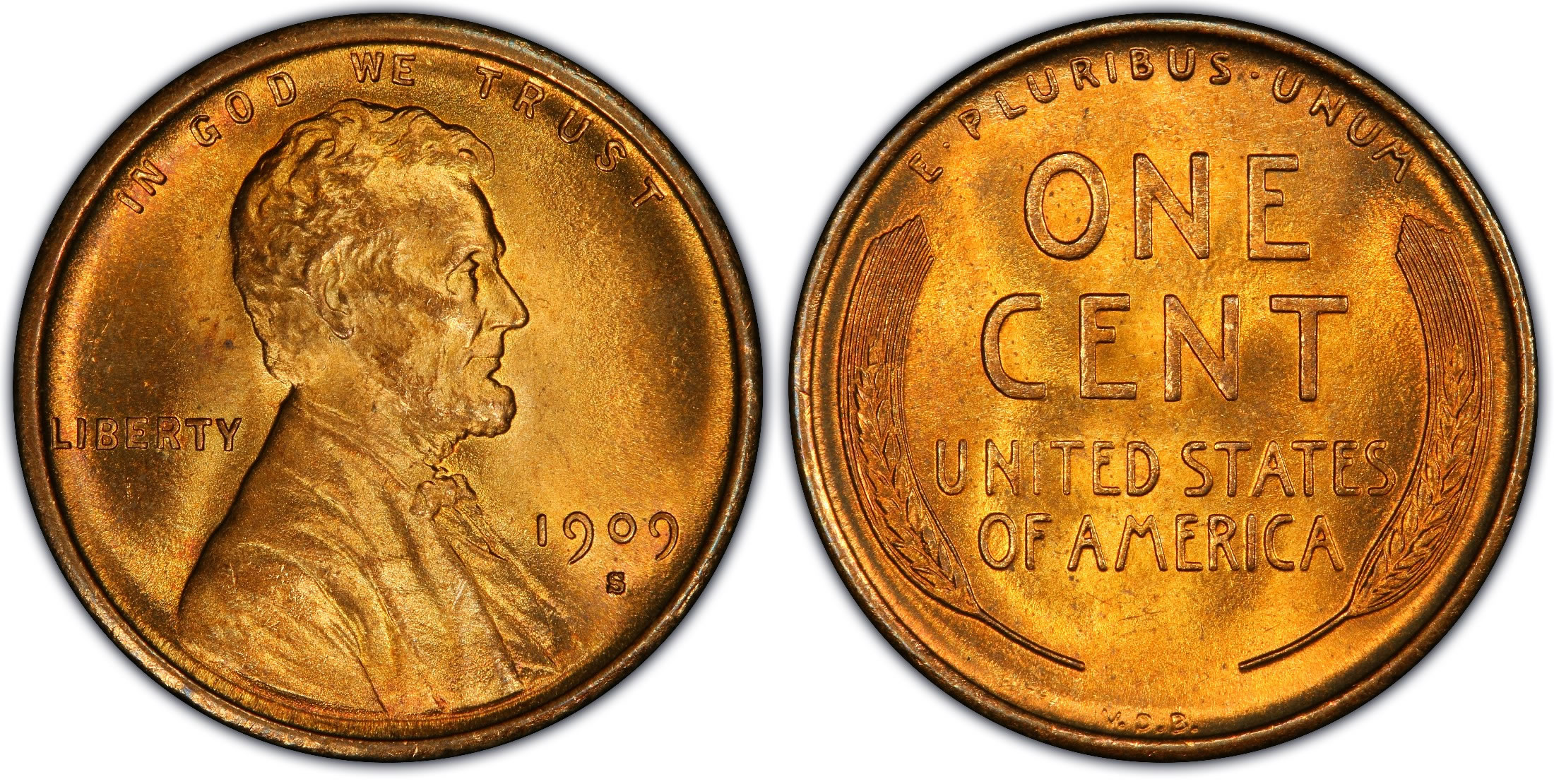 Close-up of 1909 penny featuring Abraham Lincoln