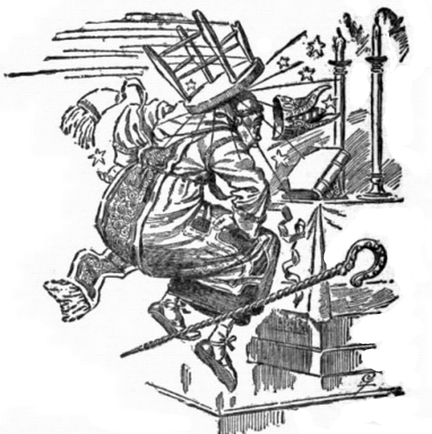 A pen-and-ink comic of a stool hitting a man in the head