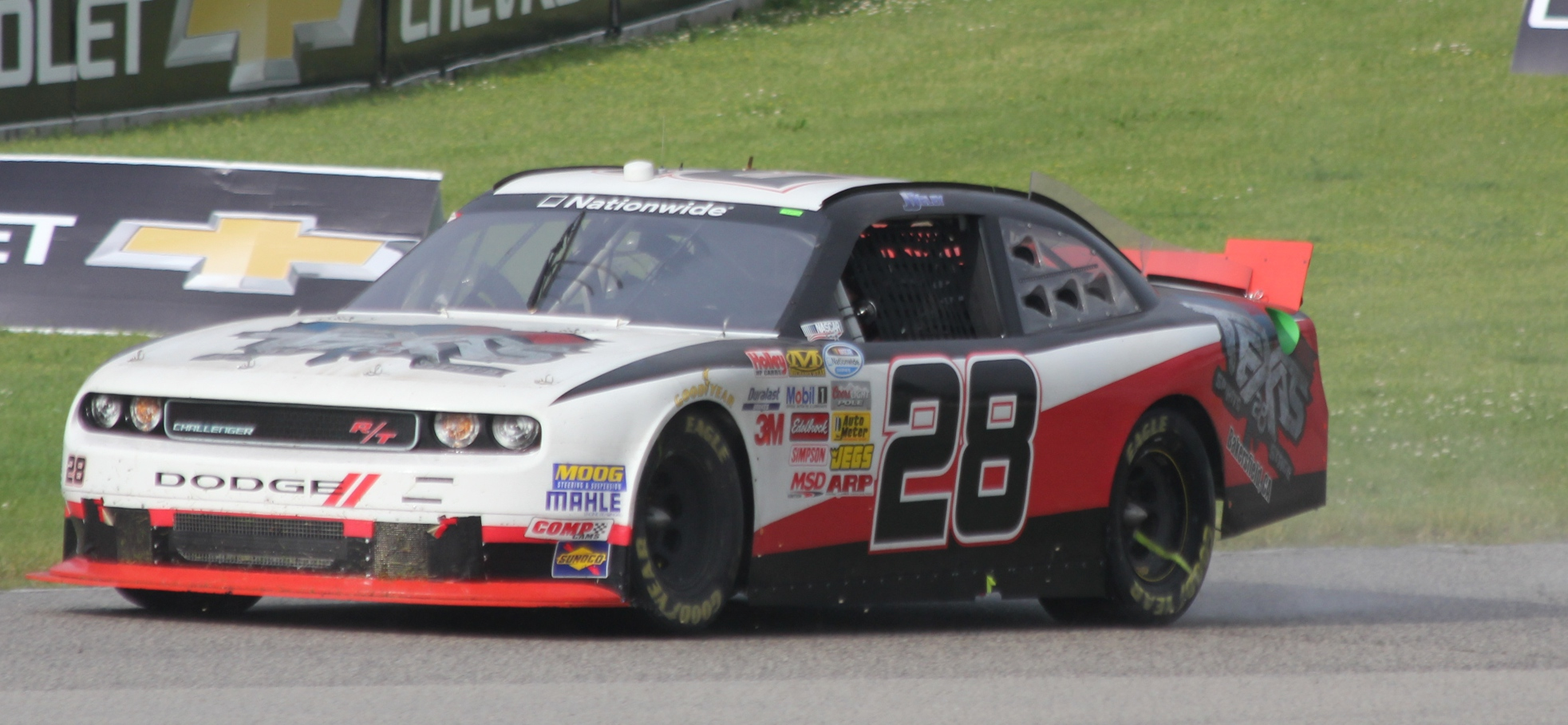File:28 JJ Yeley drivers side in rain NASCAR Nationwide 2014 Gardner Denver 200 at Road America ...