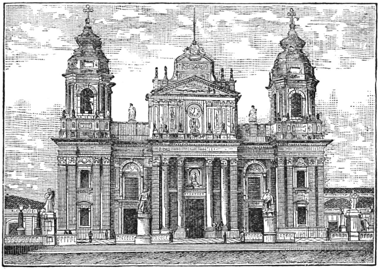 Grabado de la fachada de la Catedral de Guatemala, en 1884. Imagen de Wikimedia Commons.