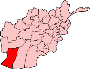 Map showing Nimruz province in Afghanistan