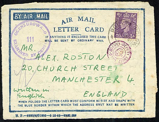 A postmarked air mail card