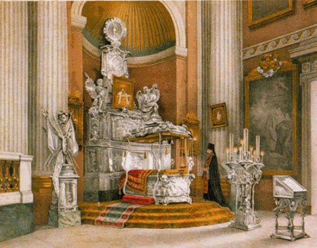 Кочетова О. А. «Вид раки с мощами Св. Александра Невского». Литография, 1890 год