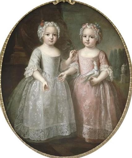 Attribué à Pierre Gobert, Louise-Élisabeth de France et sa soeur jumelle Henriette de France (vers 1737)
