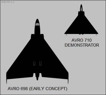 Silhouettes of an early Avro 698 concept and the cancelled Avro 710