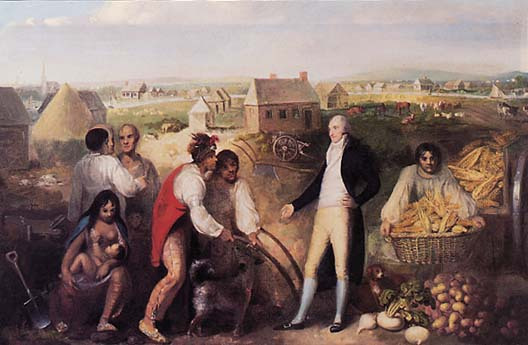 Benjamin Hawkins, seen here on his plantation, teaches Creek Native Americans how to use European technology. Painted in 1805.