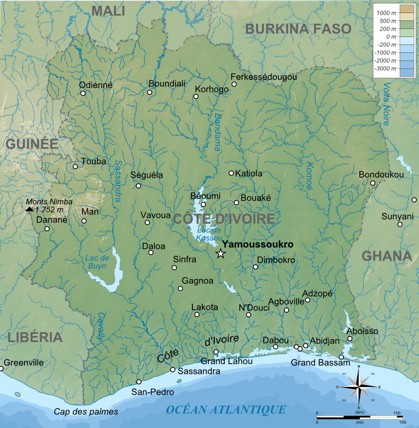 cote d ivoire carte File:Carte topographique de Côte d'Ivoire.png   Wikimedia Commons