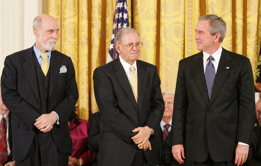 Vint Cerf and Robert Kahn being awarded the Presidential Medal Of Freedom by President Bush