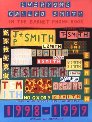 Image result for Everyone Called Smith in the Barnet Phone Book 1998–1999 by Charles Thomson