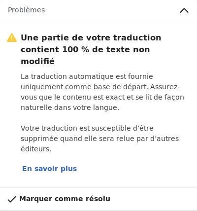 Avertissement de traduction automatique, à vérifier avant publication.