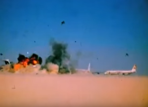 File:Dawson field aircrafts blown up, Jordan, 12 September 1970.png