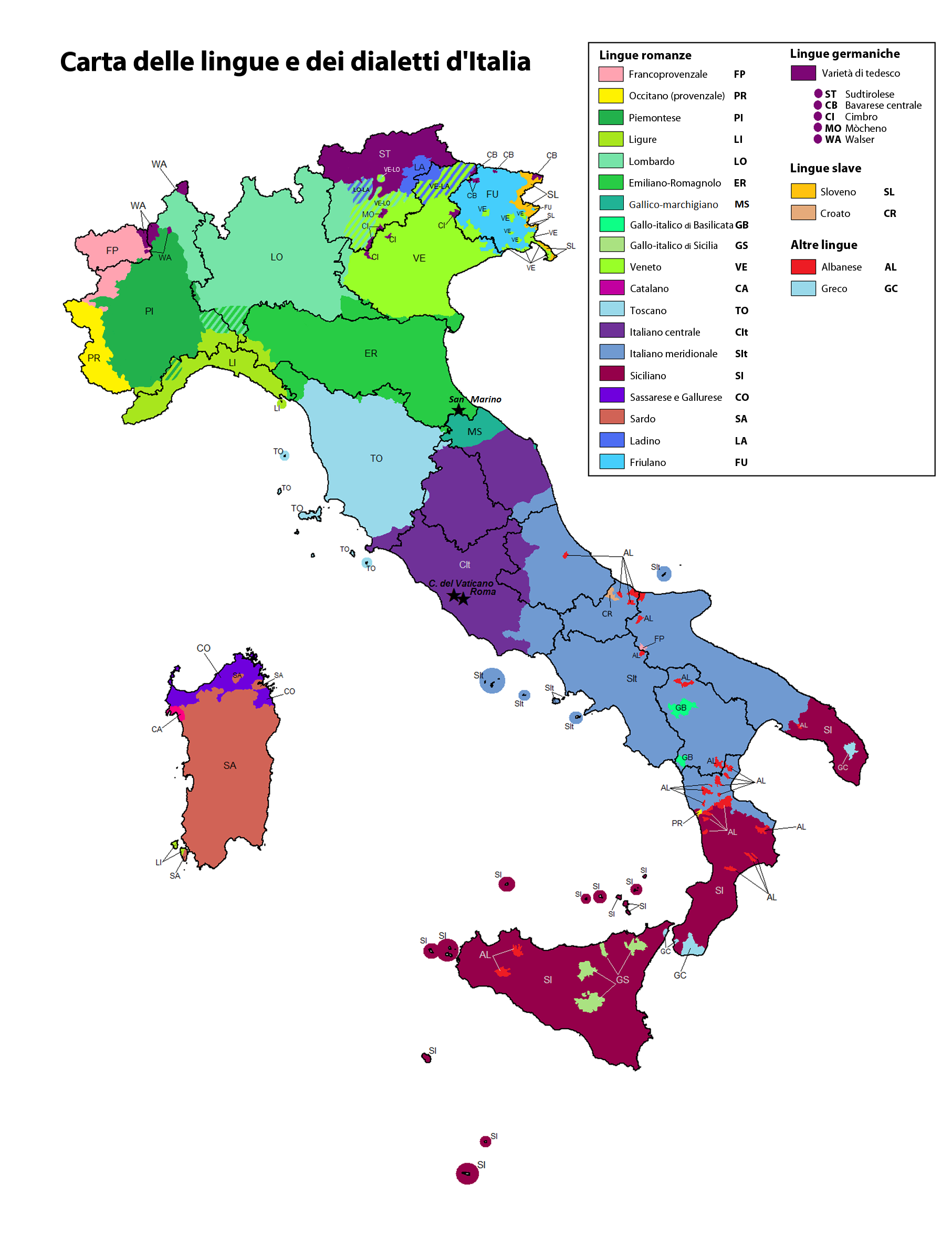 Map showing the dialects of Italy.