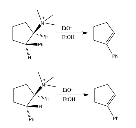 Elimination reactions of 2-phenylcyclopentyltrimethylammonium isomers.png