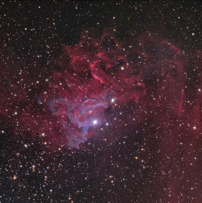 Aufnahme mit einem Teleskop von 13 cm Apertur und einer Belichtungszeit von 225 Minuten.