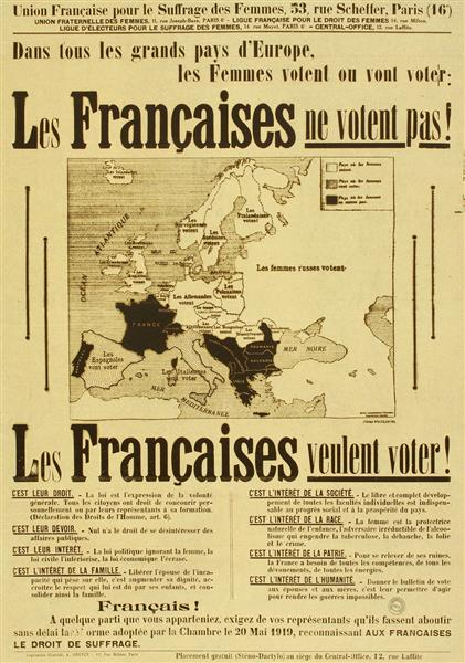 French pro-suffrage poster, 1934 French pro women's suffrage poster 1934.jpg