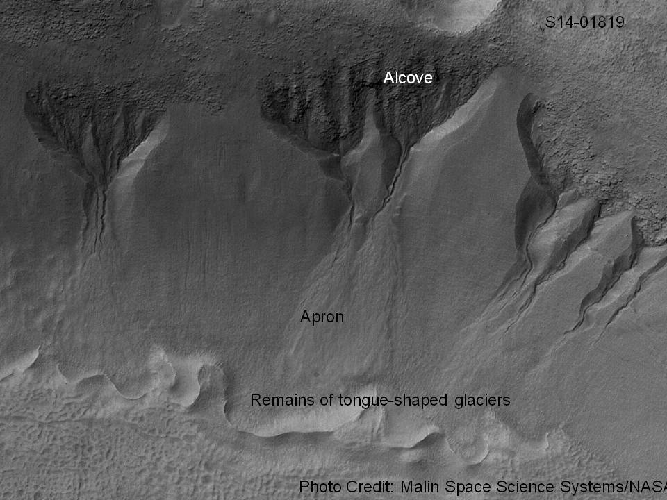 Group of gullies on north wall of crater that lies west of the crater Newton (41.3047 degrees south latitude, 192.89 east longitide). Image taken with Mars Global Surveyor under the MOC Public Targeting Program.