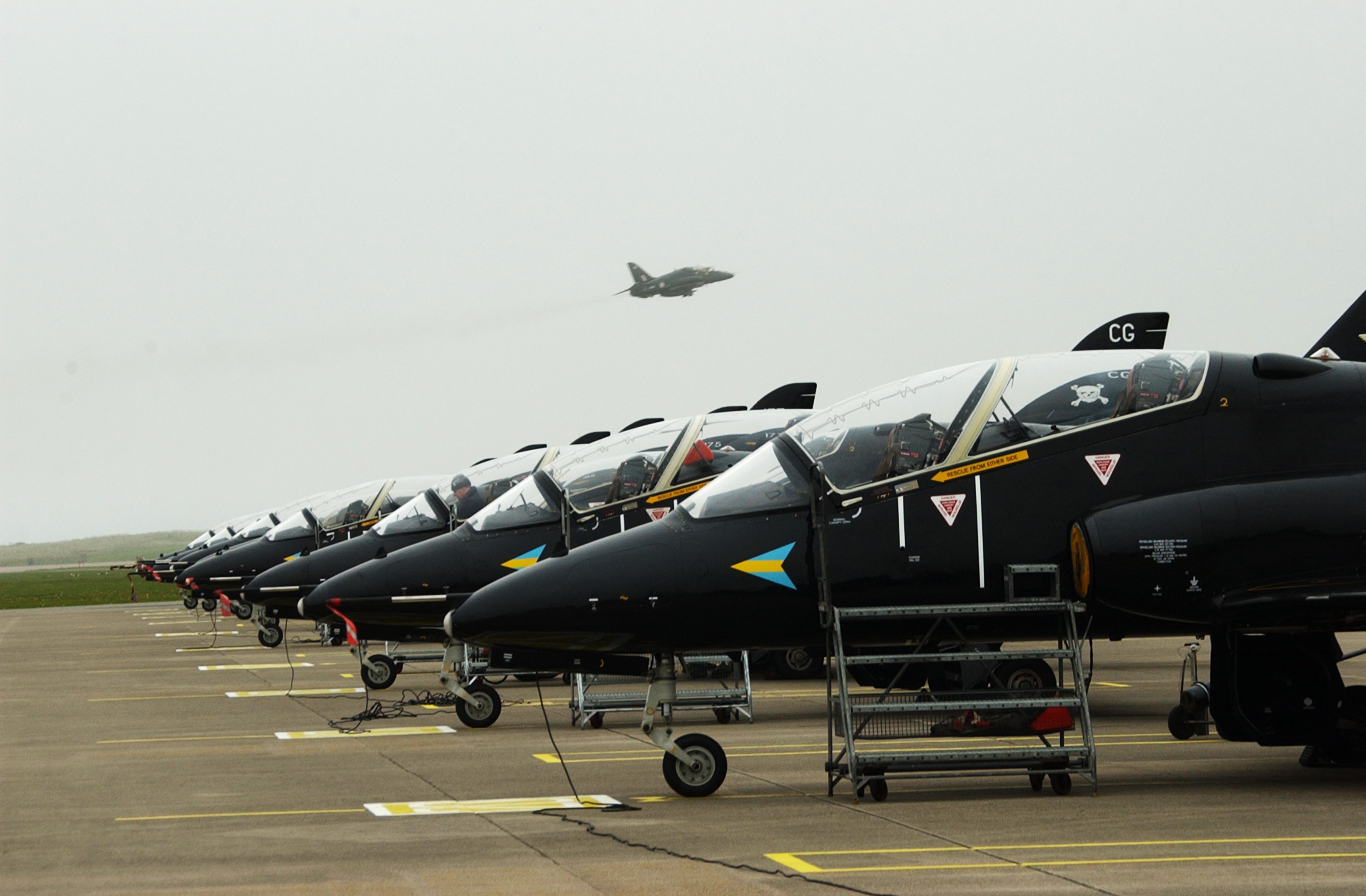 File:Hawk Aircraft Lined up on the Line at RAF Valley MOD 45142177.jpg