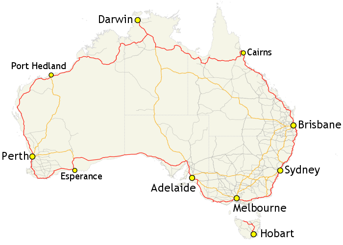 Road Map Of Australia.Highway 1 Australia Wikipedia