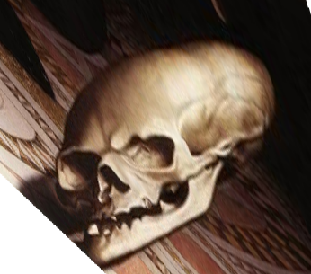 Skull in 'The Ambassadors', Holbein