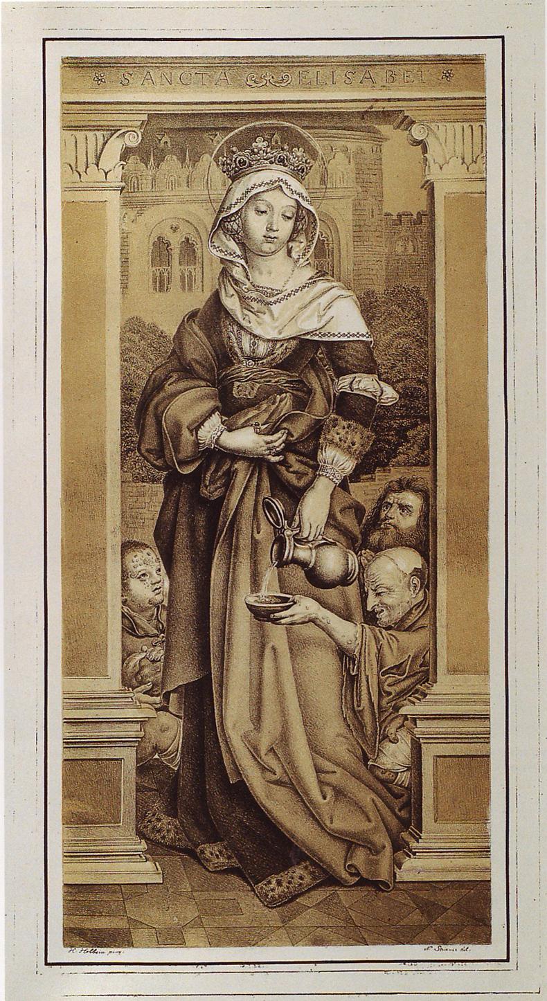 Typisk fremstilling av Elisabeth ved forsorg for nødstilte, litografi etter maleri av Hans Holbein d.e., tidlig 1500-t