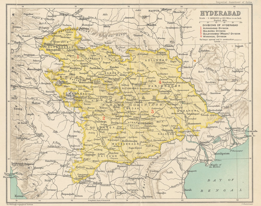 Hyderabad state in 1909. Its area stretches over the present Indian states of Andhra Pradesh, Karnataka, Maharashtra.