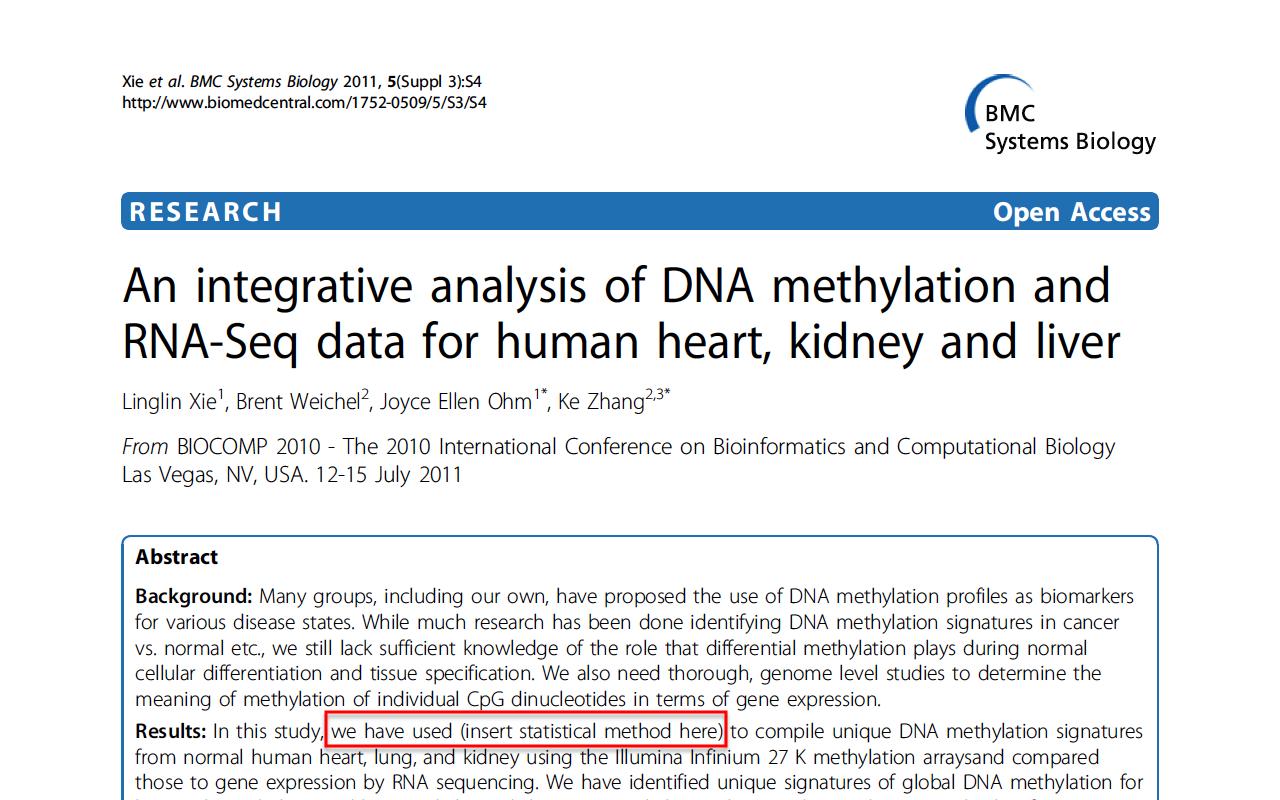 Insert statistical method here - BMC Systems Biology 2011 - 5(Suppl 3)