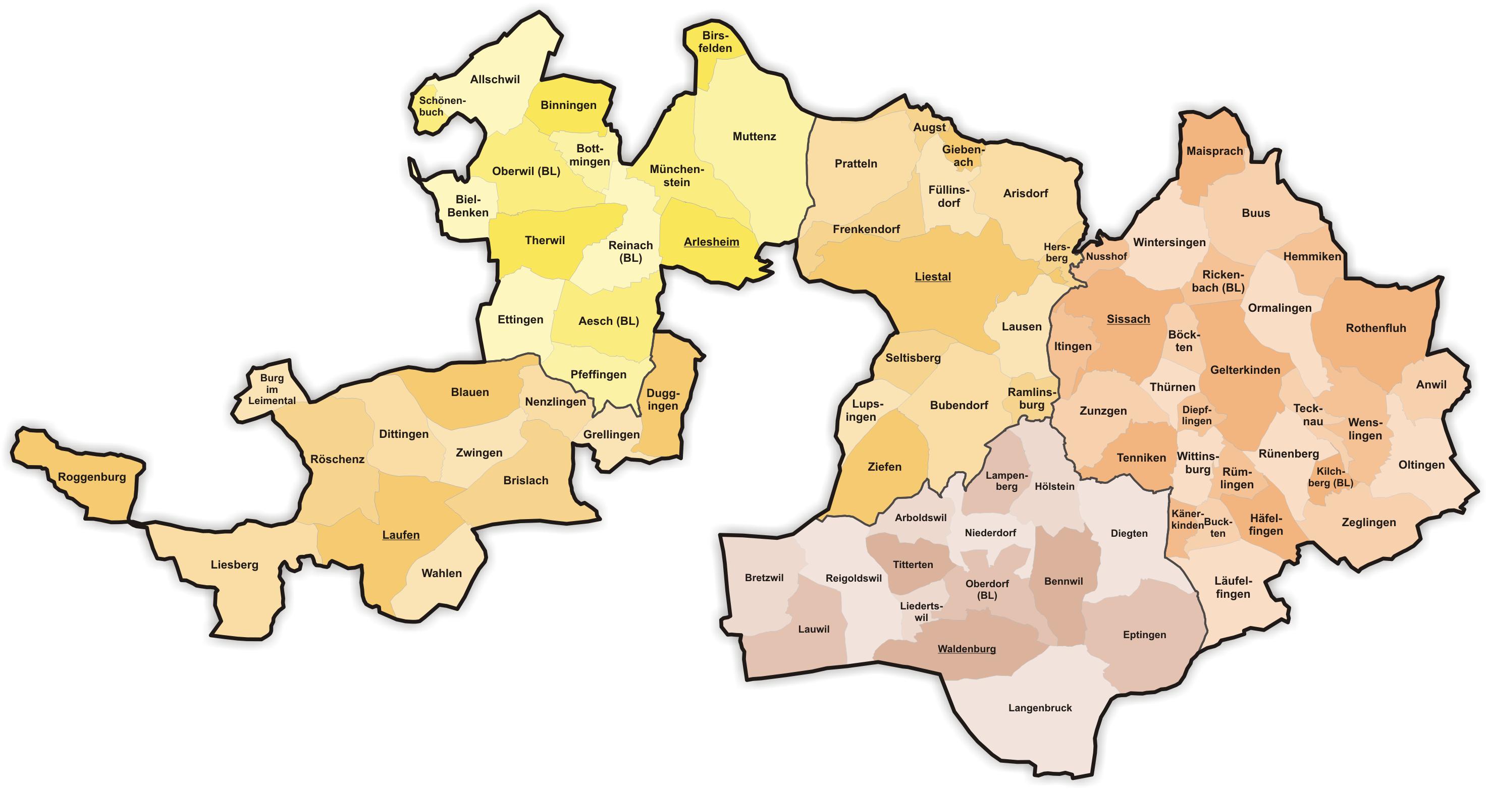 FileKarte Gemeinden des Kantons BaselLandschaft farbig 2011png