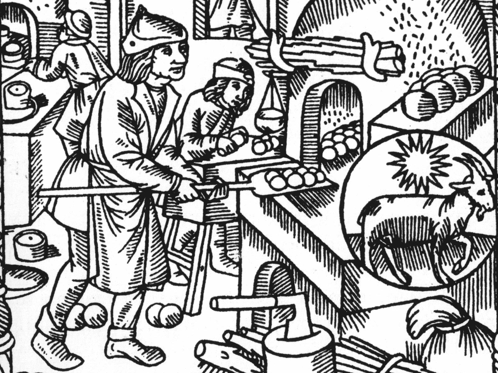 Arbeit in der Backstube: Der Dezember im Le Grant Kalendrier et Compost des Bergiers 1541.