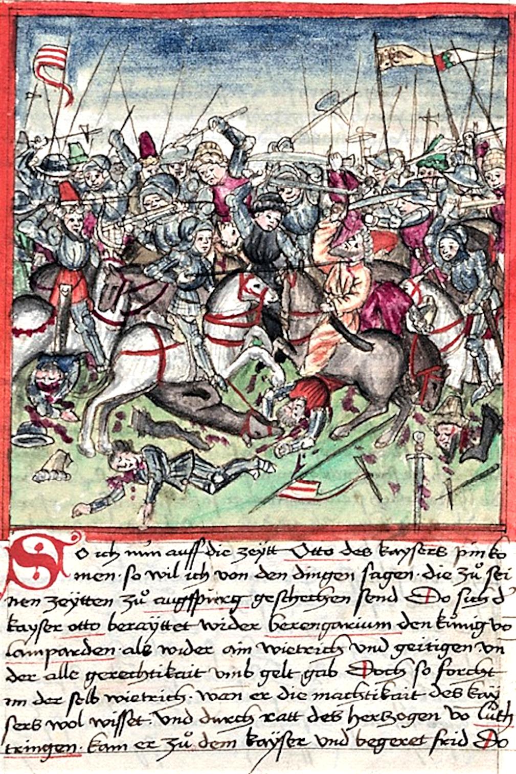 Die Schlacht auf dem Lechfeld nach einer Illustration in Sigmund Meisterlins Codex über die Geschichte Nürnbergs. Das Bild ist gemeinfrei.