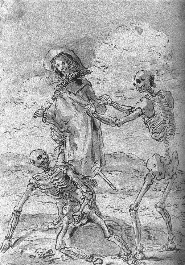 Quevedo y los esqueletos de Juan de la Encina y el rey Perico, Leonaert Bramer, 1659, dibujo a tinta y aguada gris, Múnich, Staatliche Graphische Sammlung.