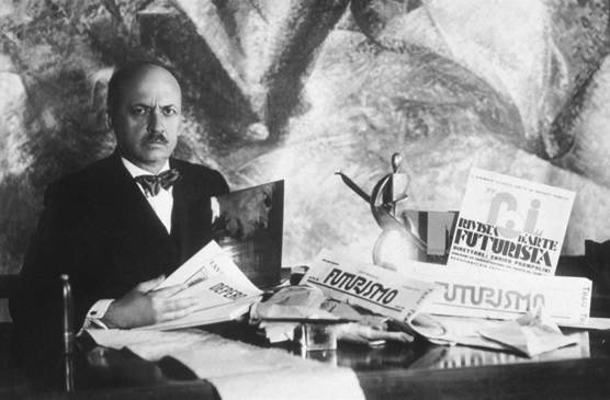 Filippo Tommaso Marinetti, Italian modernist author of the Futurist Manifesto (1909) and later the co-author of the Fascist Manifesto (1919) Manifesto of Futurism.jpg