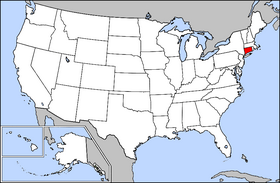 Mapa ning United States with Connecticut highlighted