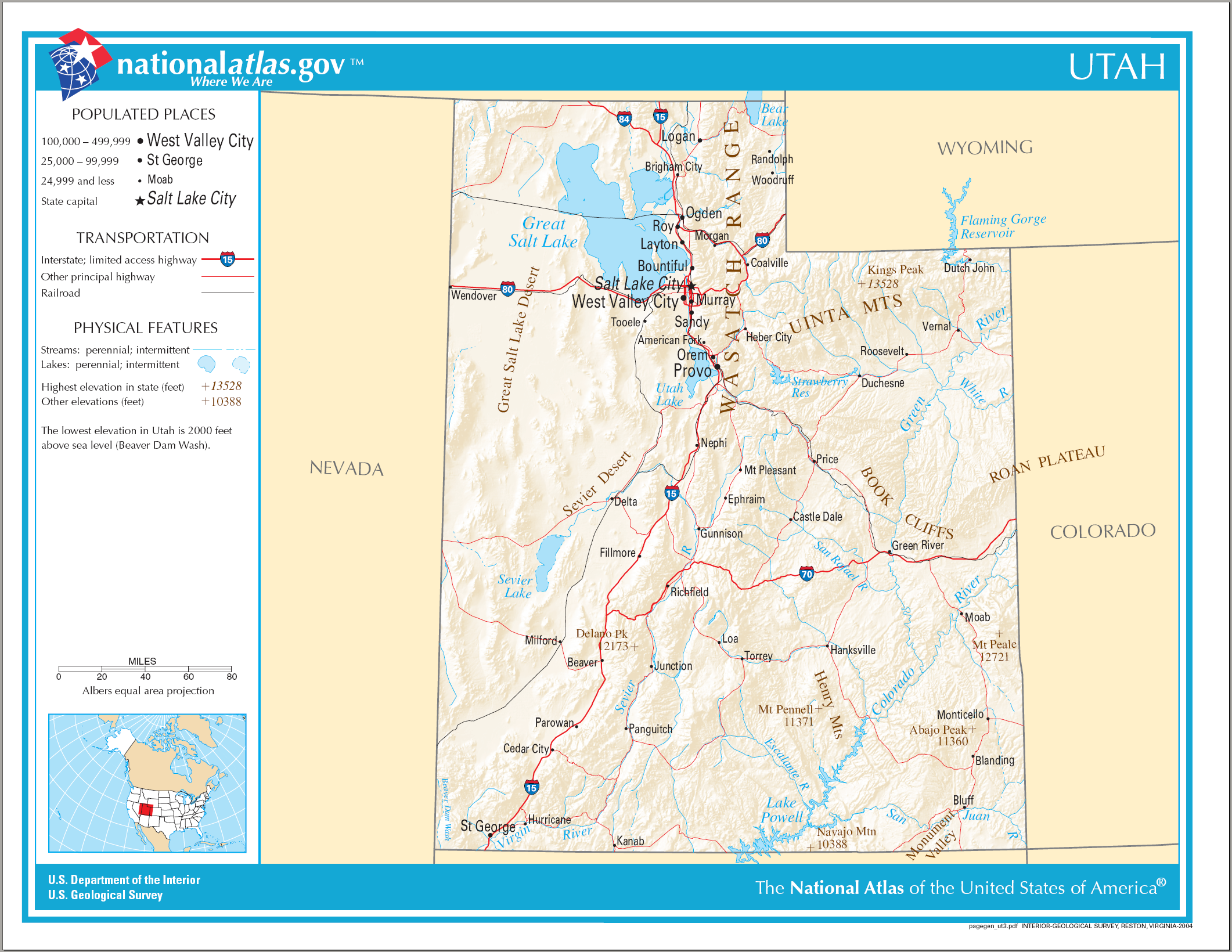Utah Mountain Ranges And Rivers Map Pictures To Pin On Pinterest - Utah on a map of the usa