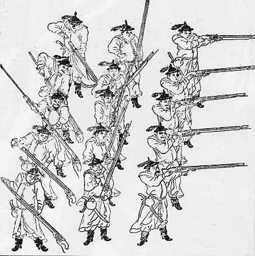 Ming Dynasty troops in formation Ming musketeers.jpg