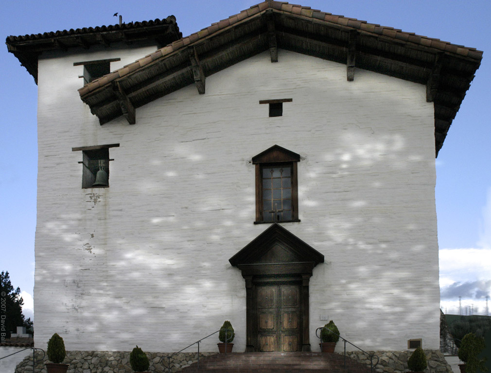 The main facade of the restored 1809 Mission San Jos chapel