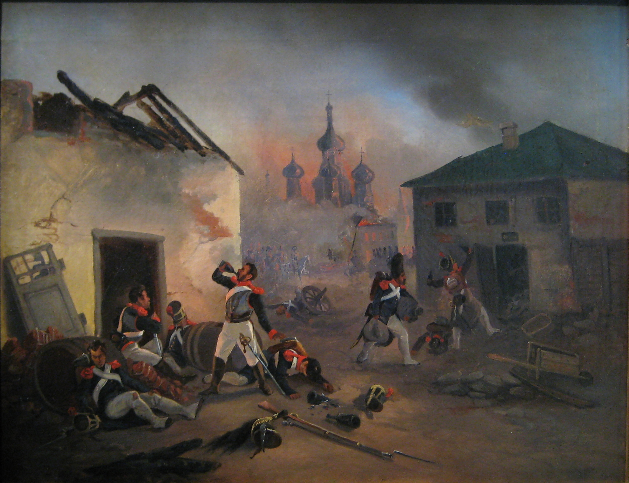 File:Moscow fire (1812) French soldiers drunking.jpg