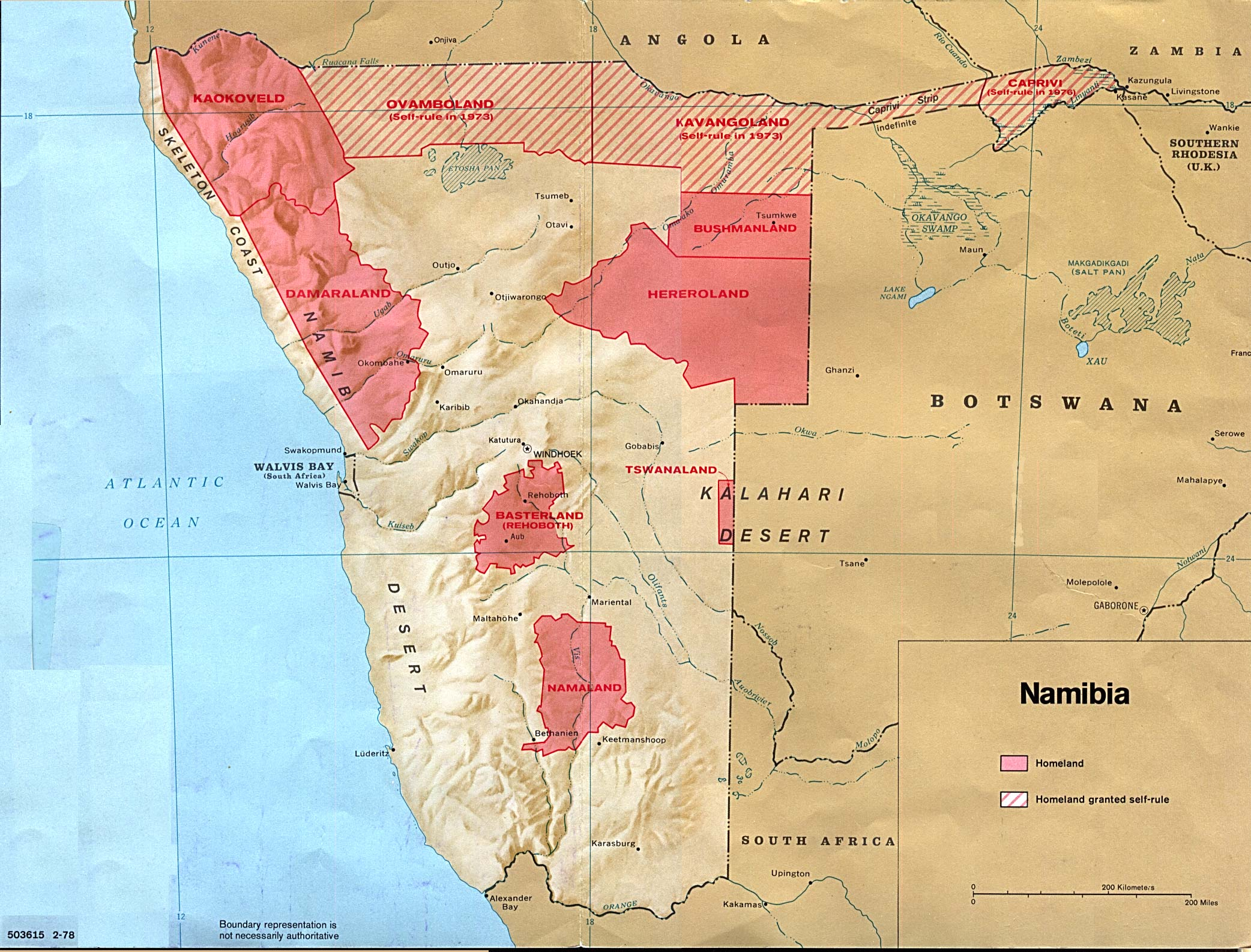 Map of the black homelands in Namibia as of 1976