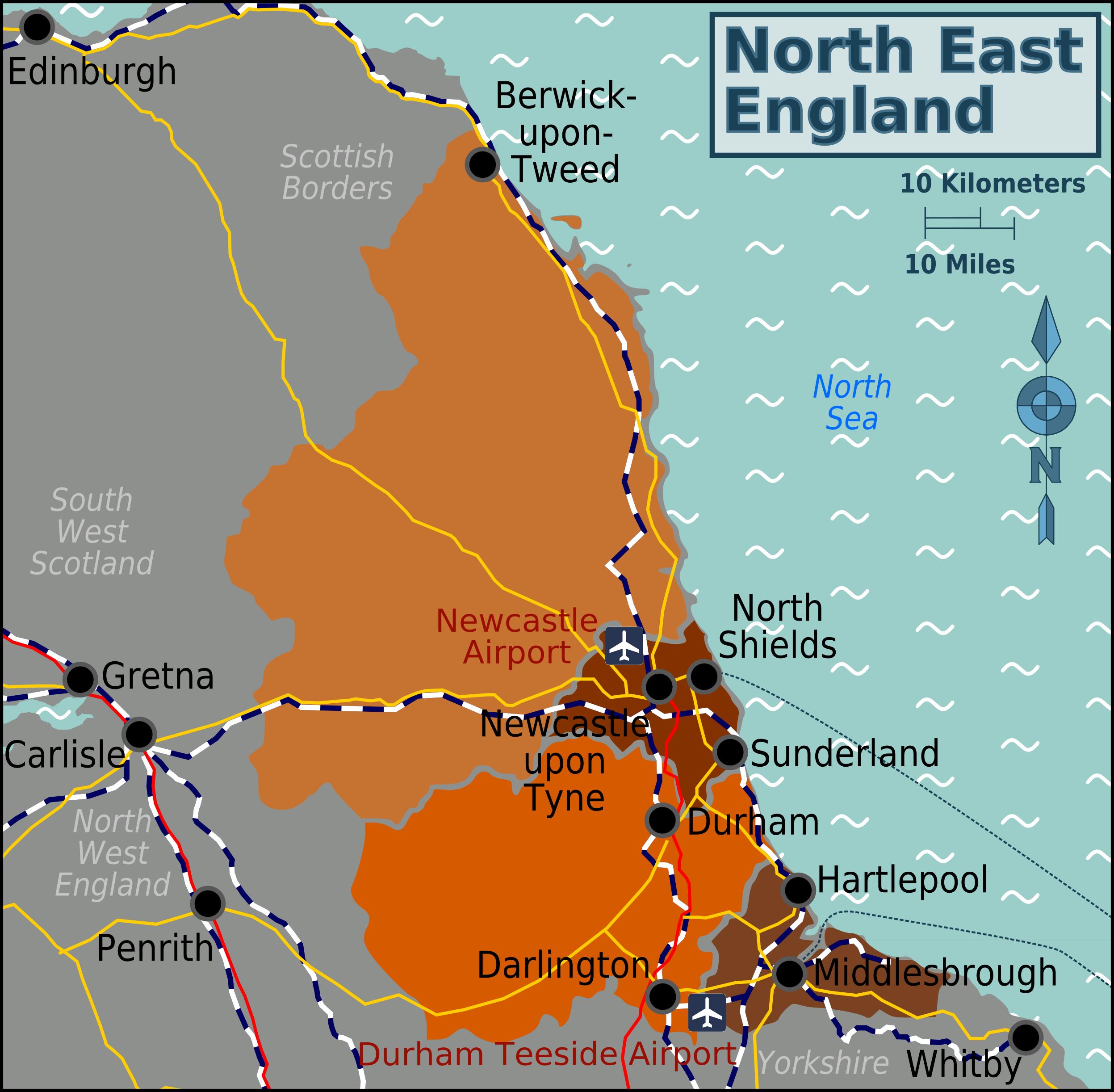 Description north east england map