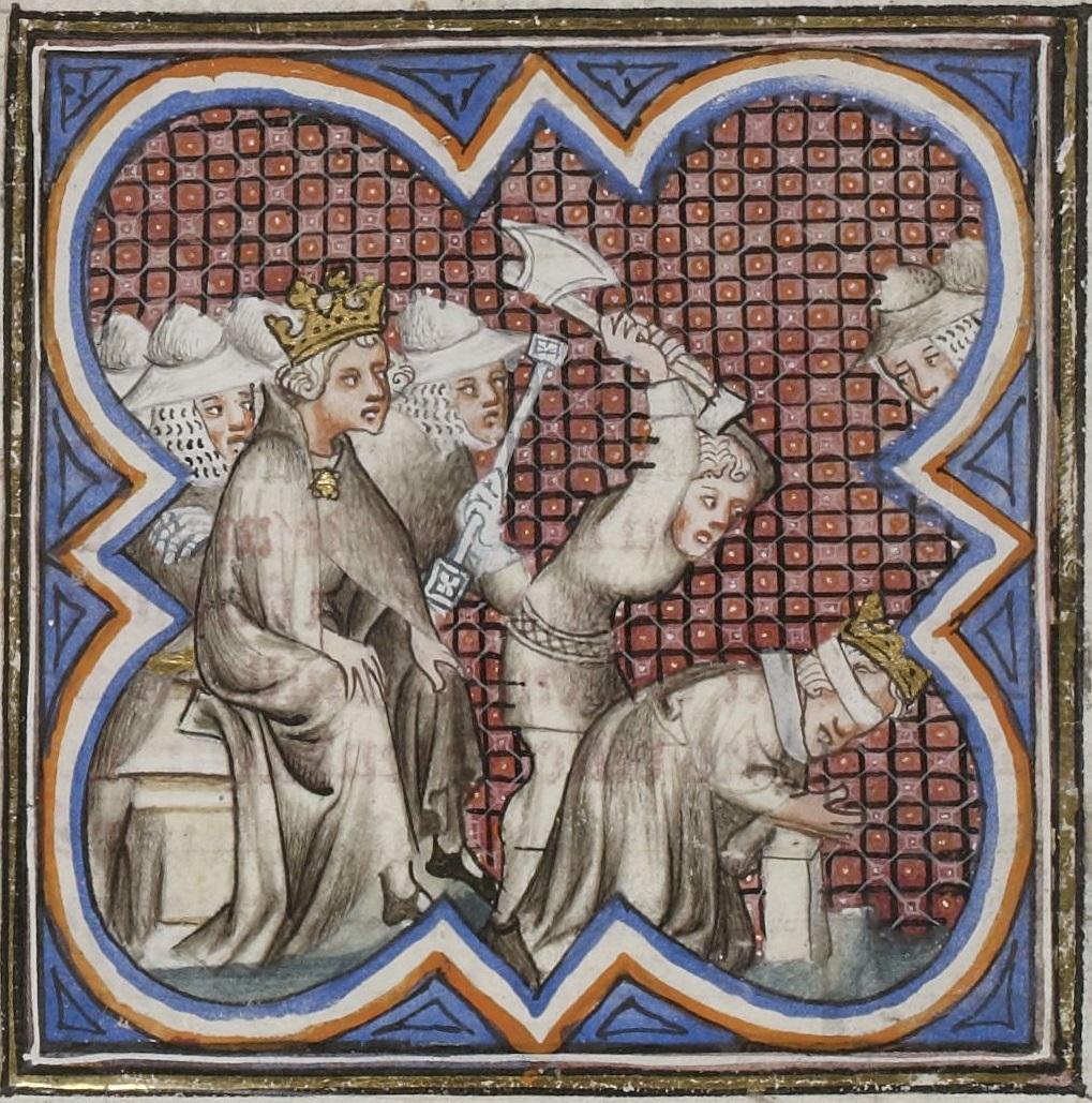 Decapitación de Pedro el Cruel. Manuscrito miniado del siglo XV.