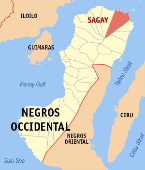 Map of Negros Occidental showing the location of Sagay City