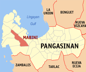 Map of Pangasinan showing the location of Mabini